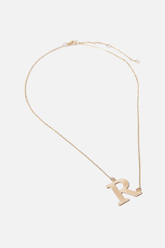 Tilted Letter Necklace, GOLD R