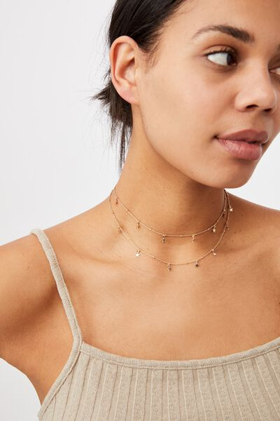 Cosmic Layers Necklace, GOLD STARS