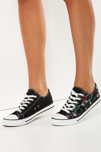 Jodi Low Rise Sneaker 1, BLACK EMBROIDERY