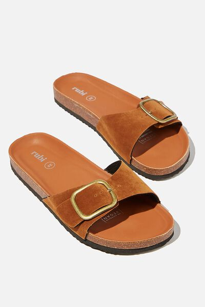 Rex Oversized Single Buckle Slide, TOBACCO ROUGH MICRO