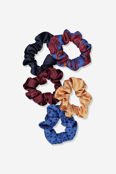 5Pk Scrunchies, NAVY FLORAL/MINI SPOT