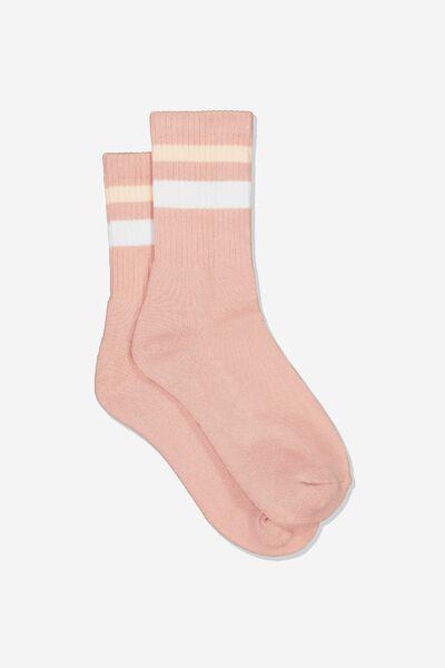 Sporty Stripe Crew Sock, ASH ROSE TIPPING STRIPE