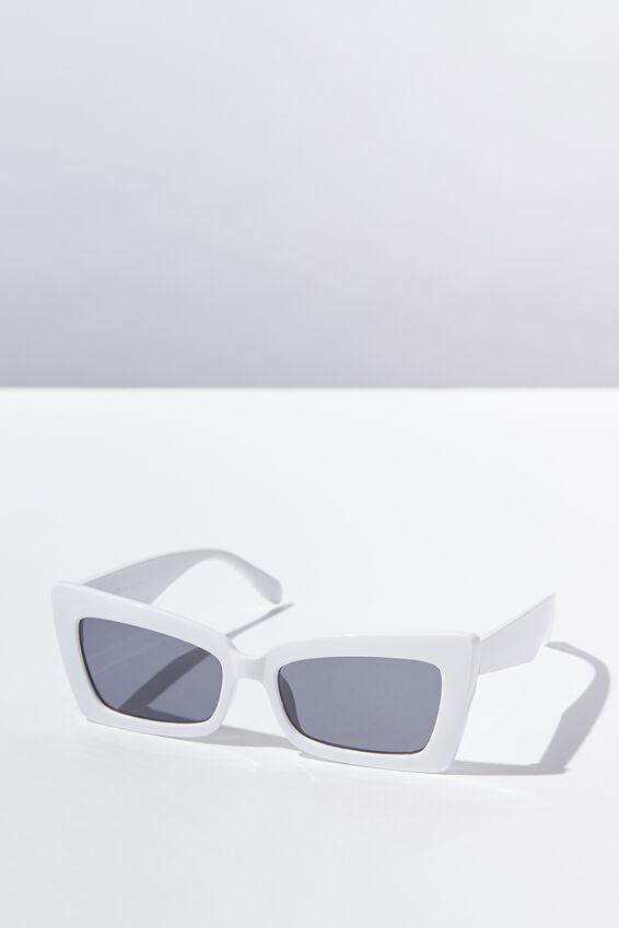 Monte Square Frame Sunglasses, WHITE/BLACK