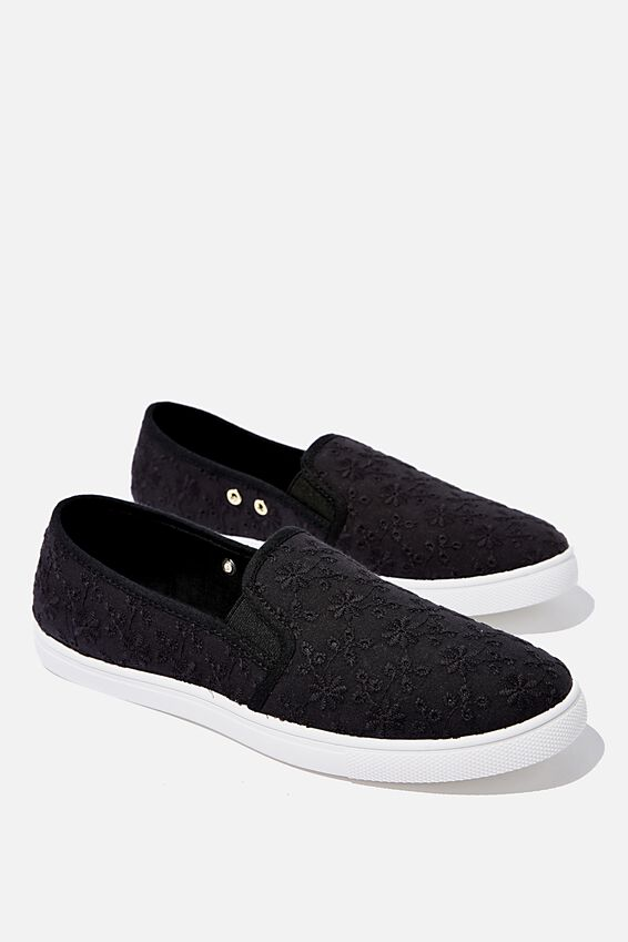 Holly Slip On, BLACK BRODERIE