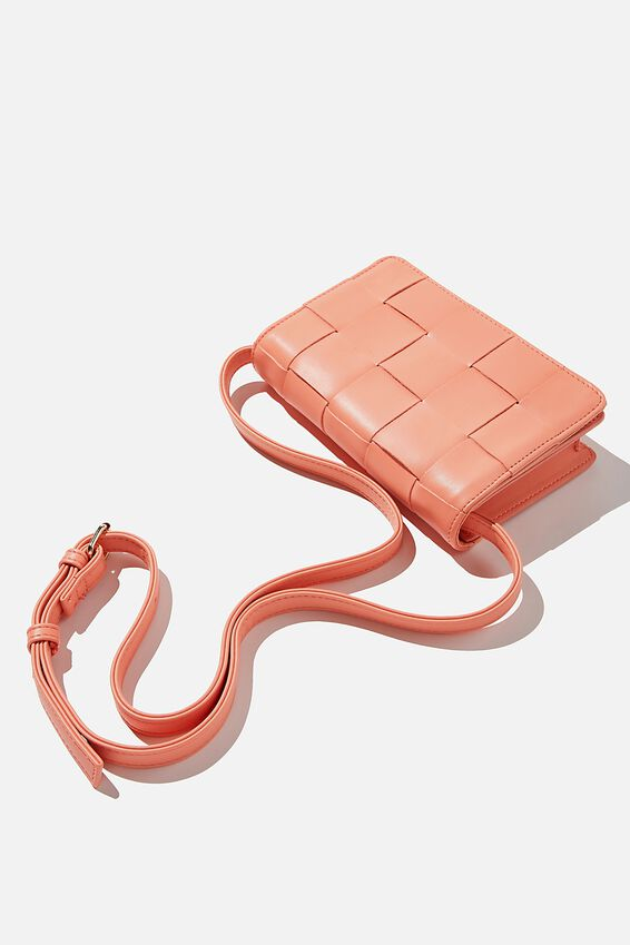 Christy Woven Cross Body Bag, CORAL PINK
