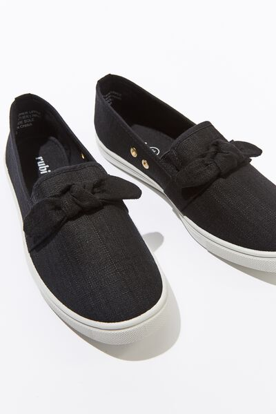 Belle Bow Slip On, BLACK WOVEN
