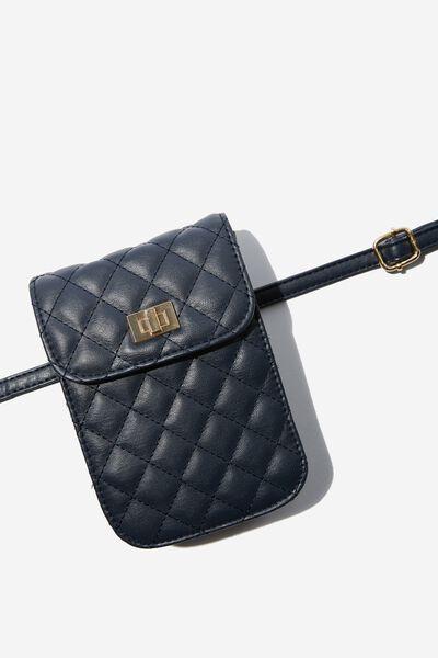 Danielle Quilted Belt Bag, NAVY