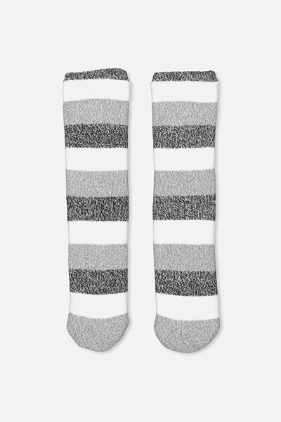 Loungin Round Sock, GREY COLOUR BLOCK
