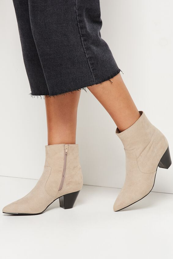 Pitt Pointed Boot, TAUPE MICRO