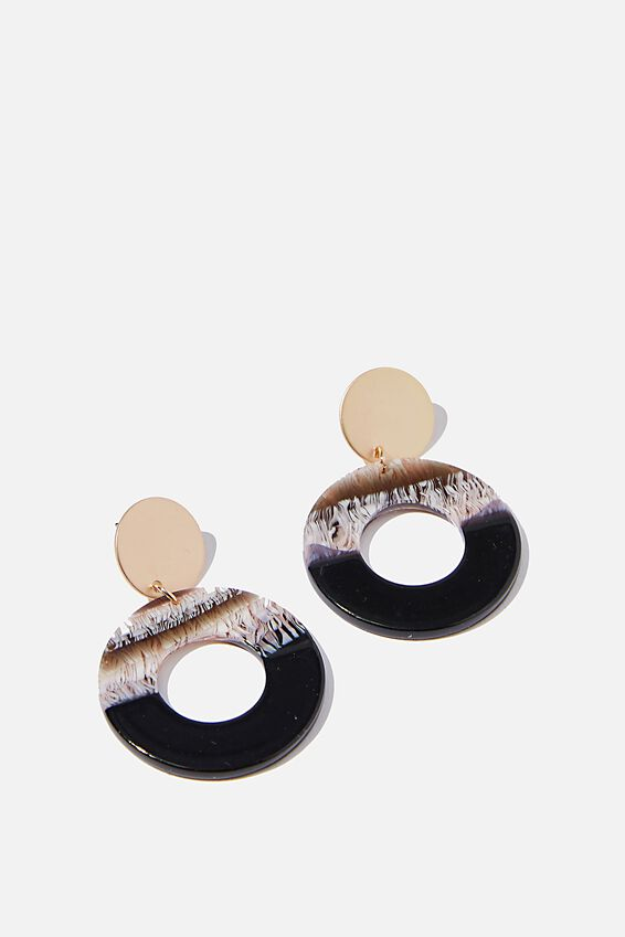 Midi Resin Disc Spice Market Earrings, BLACK MIX/ MATTE GOLD