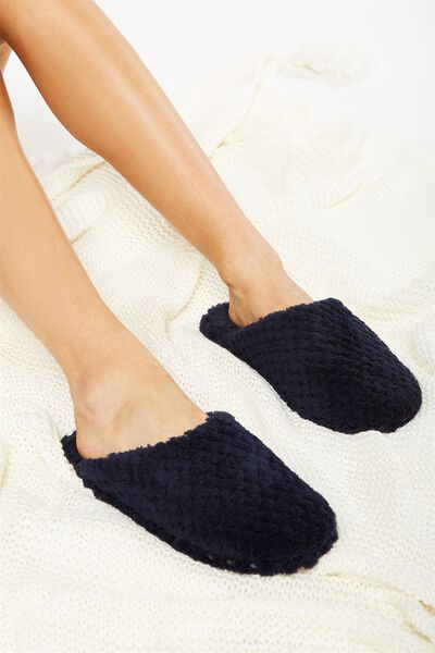 The Plush Slipper, NAVY TEXTURE