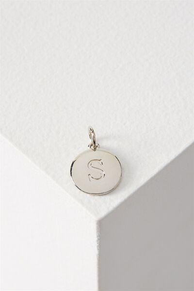 Letter Flat Pendant Charm, SILVER - S