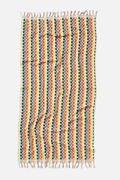 Cable Beach Towel, RAINBOW SEASIDE STRIPE