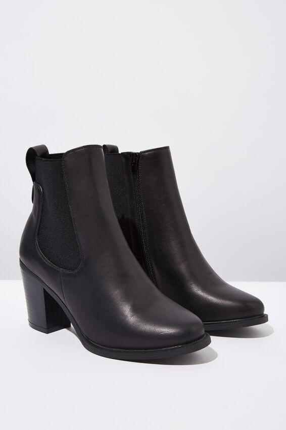 Bella Heeled Gusset Boot, BLACK SMOOTH