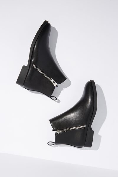 Jesinta Square Toe Zip Boot, BLACK SMOOTH