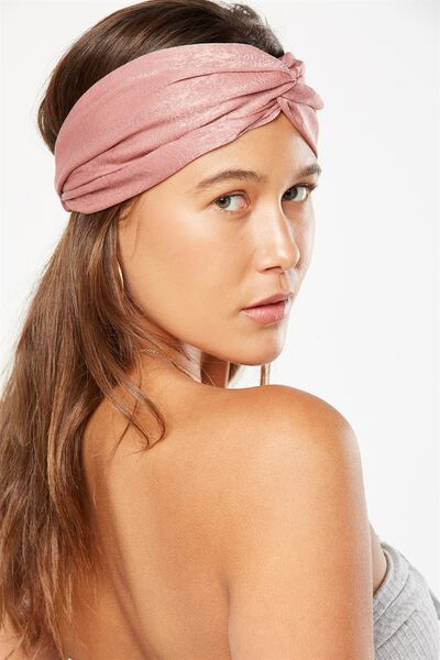 Manhattan Headband, ANTIQUE MAUVE SATIN
