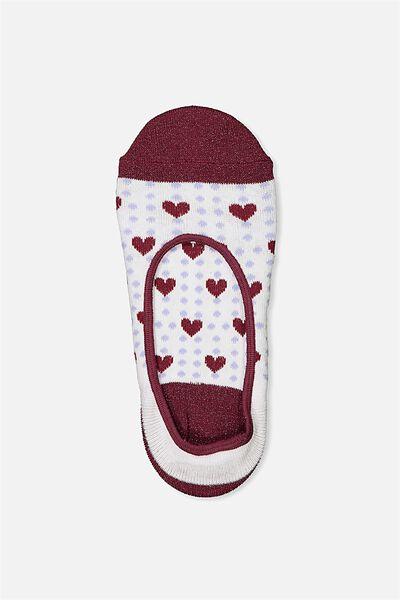 Sneaker Low Cut Sock, WINE DOTTY HEARTS