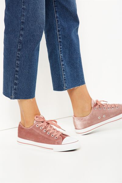 Jodi Low Rise Sneaker 1, DUSTY ROSE VELVET