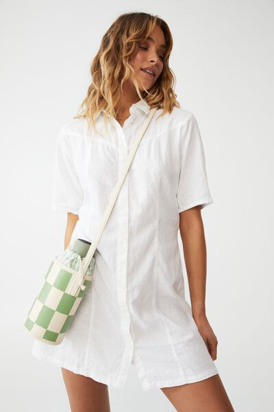Bottle Bag, GREEN CHECKERBOARD