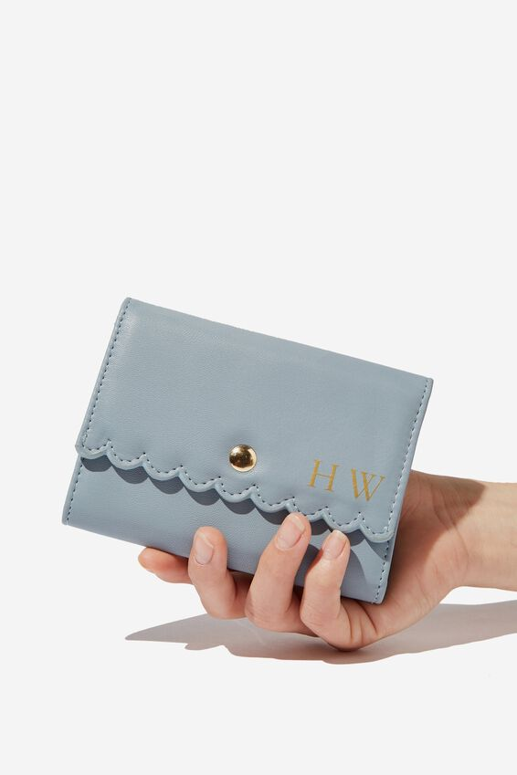Personalised Scalloped Edge Wallet, LIGHT BLUE