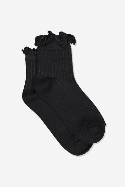 Fancy Quarter Crew Sock, BLACK FRILL