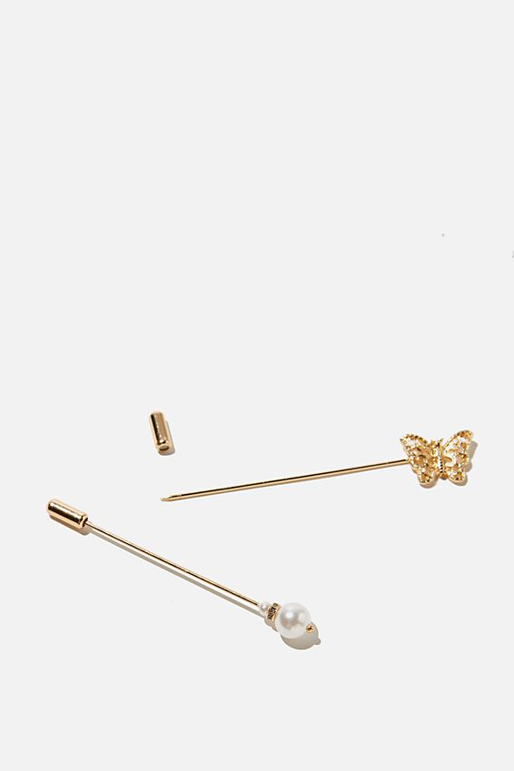 Celeste Pin, GOLD PEARL BUTTERFLY
