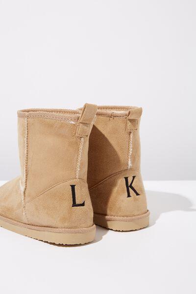 Personalised Short Home Boot, HONEY TAN