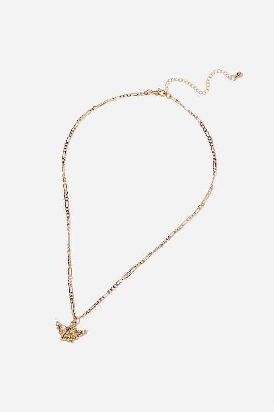 Treasures Short Pendant Necklace, GOLD CHERUB
