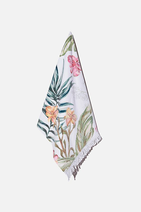 Bondi Rectangle Towel, WHITE TROPICAL