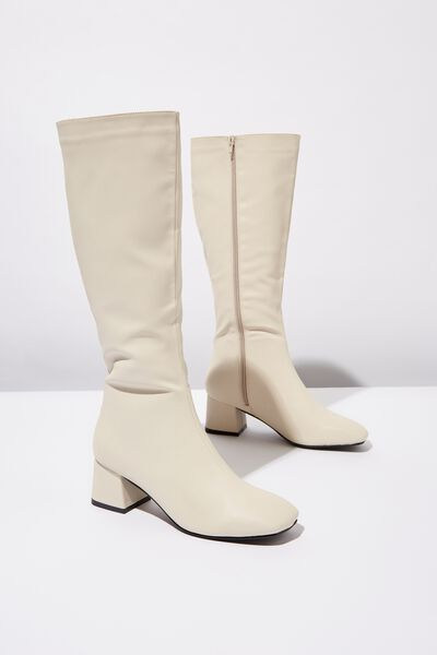 Camilla Square Toe Knee High Boot, STONE SMOOTH PU