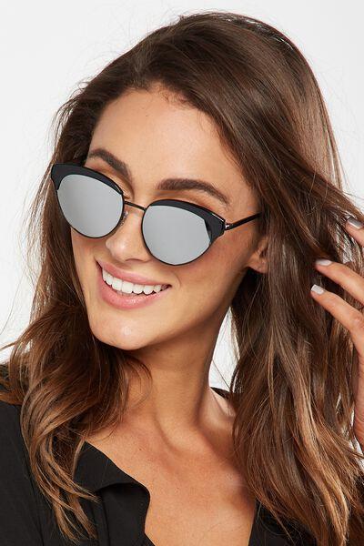 Hadley Top Brow Sunglasses, S.BLK METAL