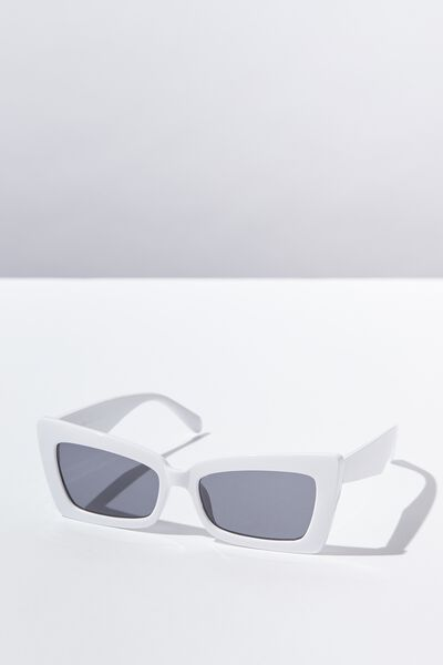 Monte Square Frame Sunglass, WHITE/BLACK