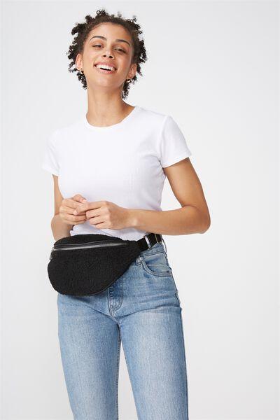 Elisa 2 Webbing Belt Bag, BLACK TEDDY