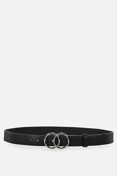 Double Circle Belt, BLACK W SILVER