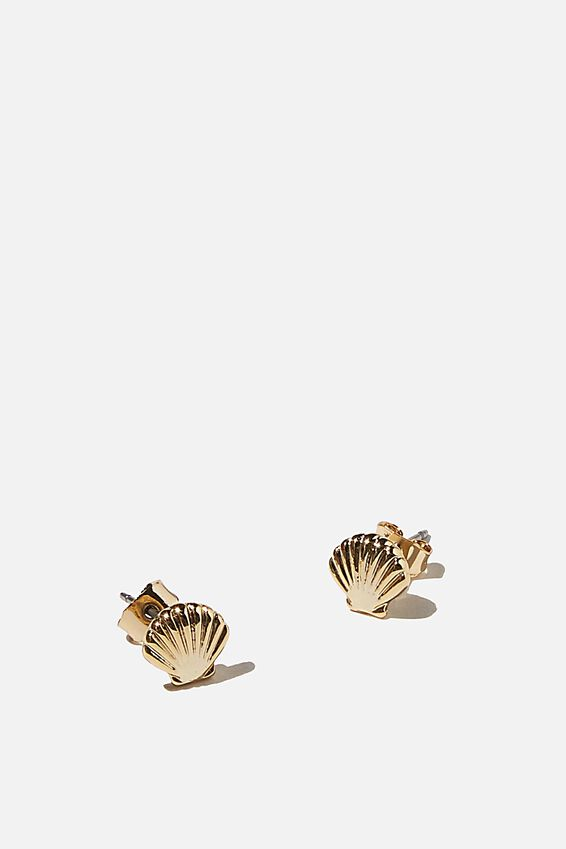Premium Stud Earrings, CLAM SHELL GOLD PLATED