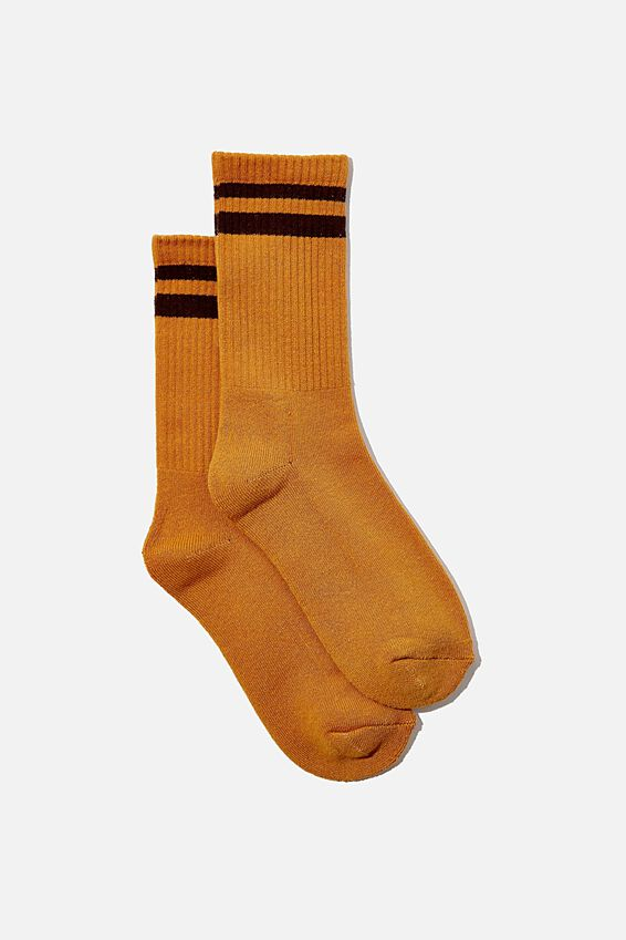 Club House Crew Sock, MUSTARD/BROWN