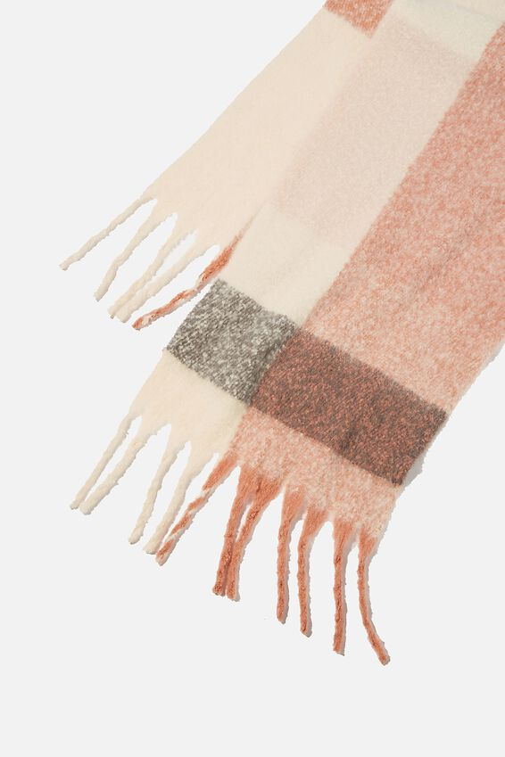 Poppy Brushed Tassel Scarf, BLUSH CHECK