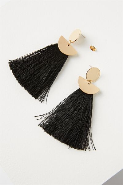 Princess Tassle Statement Earring, BLACK/GOLD
