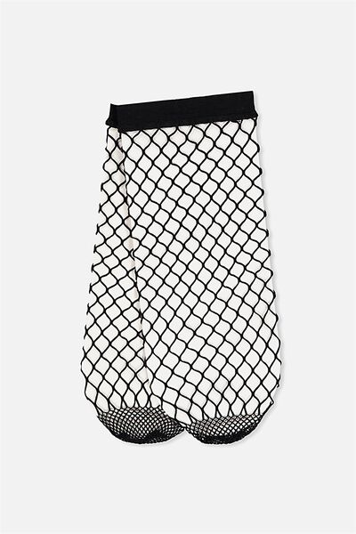 Freida Fancy Sock, BLACK LARGE FISHNET