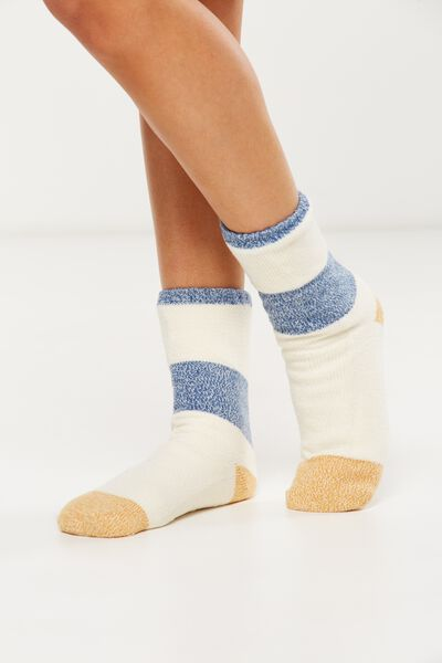 Loungin Round Sock, GOLD COLOUR BLOCK