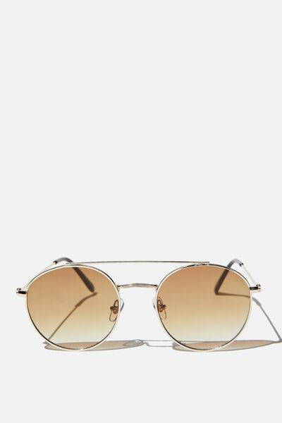 Demi Top Bar Metal Sunglasses, GOLD/ BROWN