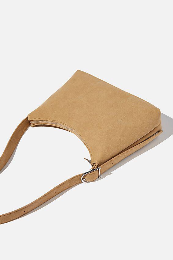 Britt Buckle Slouch Bag, SANDSTONE NUBUCK