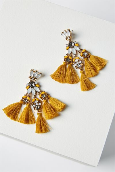 Aubrey Jewel Tassel Statement Earring, MARIGOLD