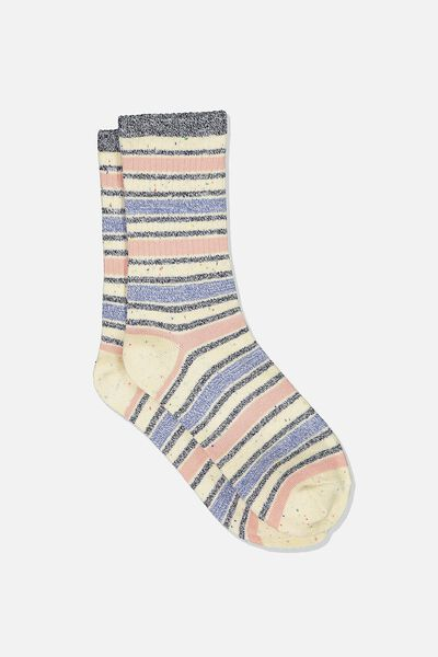 Everyday Rib Sock, NAVY VARIEGATED STRIPE