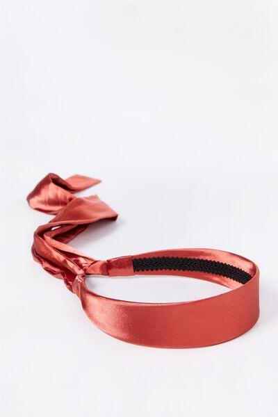 Alice Tie Back Headband, MAHOGANY