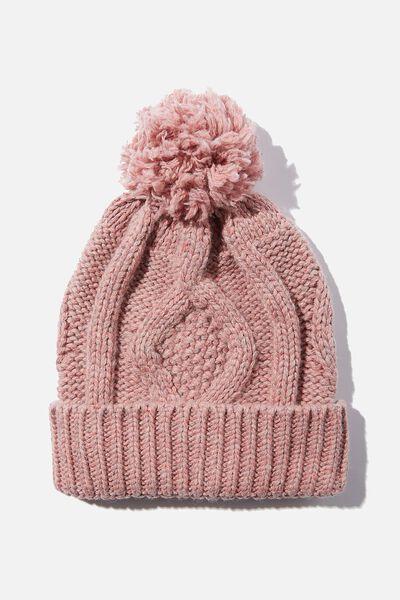 Heritage Knit Pom Pom Beanie, BLUSH