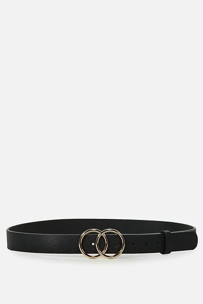 Double Circle Belt, BLACK W GOLD