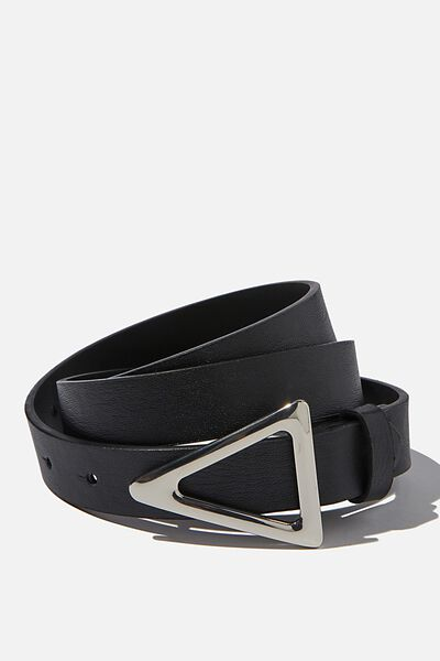 Triangle Buckle Belt, BLACK/SILVER