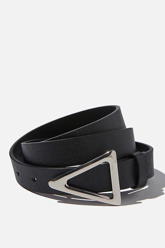 Triangle Buckle Belt, BLACK/SILVER