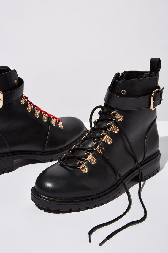 Hariette Lace Up Boot, BLACK/GOLD